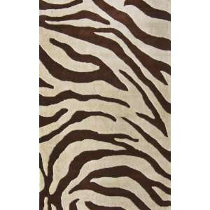 Safari Zebra Print 6 Foot Round Wool Area Rug, Brown