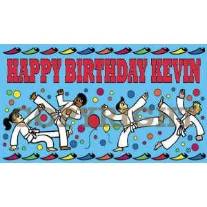 Martial Arts Excitement Happy Birthday Personalized Banner