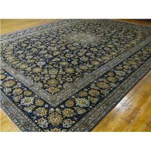 106 x 135 Navy Blue Persian Hand Knotted Wool Kashan Rug