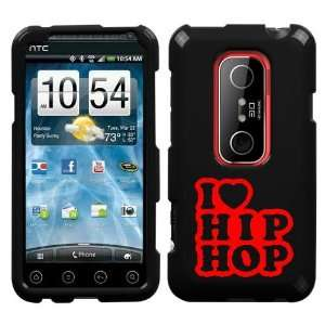 HTC EVO 3D RED I LOVE HIP HOP ON A BLACK HARD CASE COVER