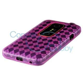 Pink Hydro TPU Silicone Gel Cover Case for HTC EVO 3D Accessory Mobile