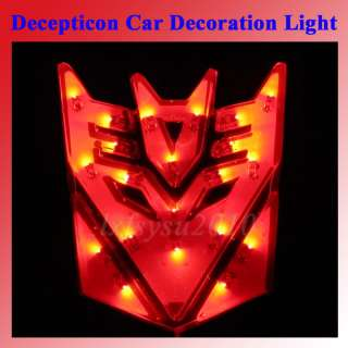 Cool New Transformers Decepticon Red LED Lights Car Sticker Car