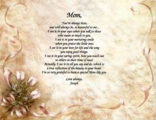 PERSONALIZED MOTHER MOM POEM PRINT MOTHERS DAY IDEA
