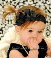 Black Hair Bow Headband Infant Toddler Baby Girl