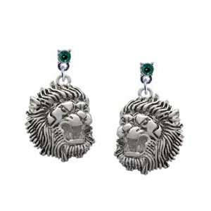 Large Lion   Mascot Emerald Swarovski Post Charm Earrings
