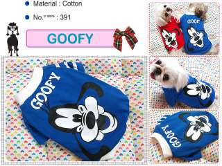 Small Dog Clothes,Disney Costume Goofy T shirts,391