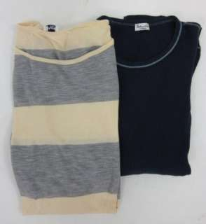 LOT 2 SPLENDID Yellow Gray Blue Striped Top Set Sz L XS
