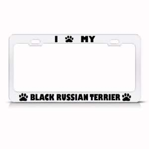 Black Russian Terrier Dog White Metal License Plate Frame