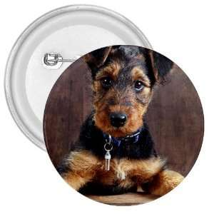Airedale Terrier Puppy Dog 3in Button E0003 Everything