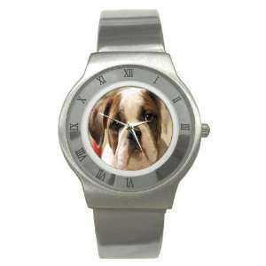 American Bulldog Puppy Dog Stainless Steel Watch GG0009