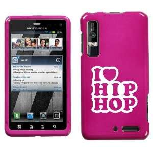 XT862 WHITE I LOVE HIP HOP ON PINK HARD CASE COVER
