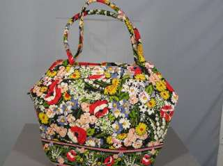 VERA BRADLEY Poppy Fields ANGLE TOTE BAG PURSE TRAVEL Quilted Retired