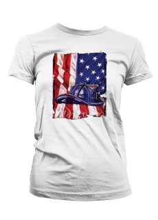 FireFighter Helmet American Flag Honor  Juniors/Girls T Shirt.
