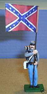 TOY SOLDIERS LEAD CIVIL WAR CONFEDERATE FLAG BEARER 54M