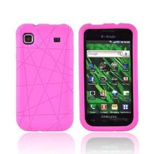 Textured Lines Hot Pink Silicone Skin Case w Screen