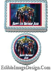 THE AVENGERS Edible Birthday Cake Image Decoration Cupcake Topper