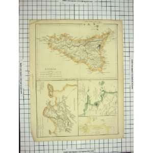 ANTIQUE MAP c1790 c1900 SICILIA SYRACUSAE BAY NAPLES