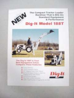 DIG IT188T COMPACT TRACTOR LOADER FACT BROCHURE SHEET