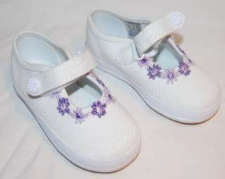 NEW KEDS champion WHITE MARY JANES CANVAS SHOES purple flowers BABY