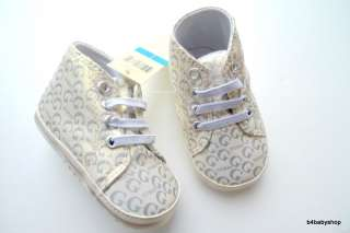 NWT Silver Sparkle Baby Boy Girl High top Sneakers 0 6M/6 12M/12 18M