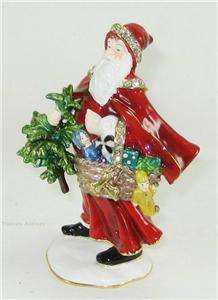 Bejeweled Santa Claus w Tree and Basket of Gifts Trinket Box