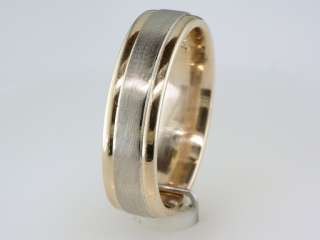 Zales Mens Comfort Fit Solid 14K White & Yellow Gold 2 Tone Wedding