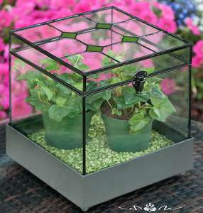 Stained Glass Plant Terrarium Display Case Metal Tray Green Accents
