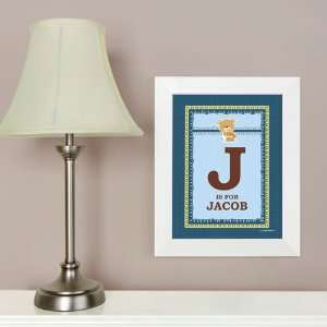 Baby Boy Teddy Bear   8.5 x 11 Nursery Wall Art   Personalized Baby