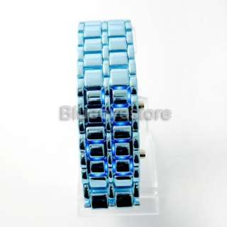 Luxurys Blue Lava Iron Samurai Metal LED Faceless Watch Lady Men Watch