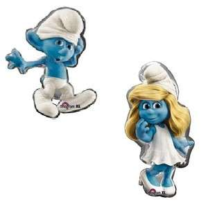 SMURF and Smurfette Movie Large Figure Birthday Party Helium Mylar