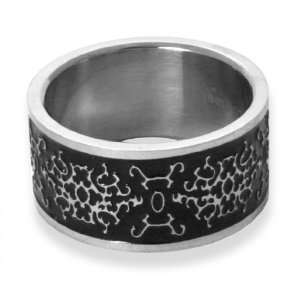 Ornate Byzantine Black Steel Mens Ring size 8 Jewelry