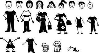 Stick People Family Figures Vinyl Stickers Decal Window