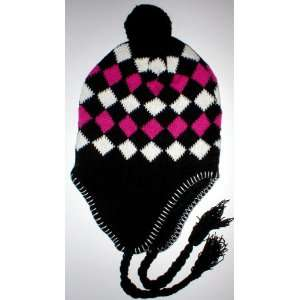 Womens Warm Winter Fleece Earflap Black Ski Hat Ear Flap