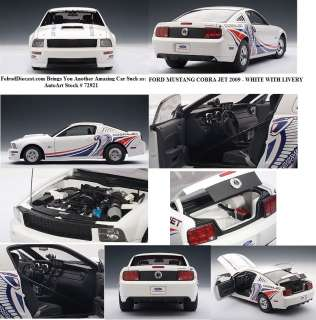 18 Autoart 2009 Ford Mustang Cobra Jet White Mint Car