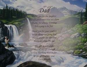 PERSONALIZED POEM FOR DAD BIRTHDAY OR CHRISTMAS GIFT WATERFALL