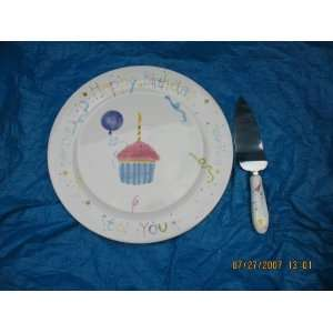 Happy Birthday Ceramic Plate & Matching Cake Server
