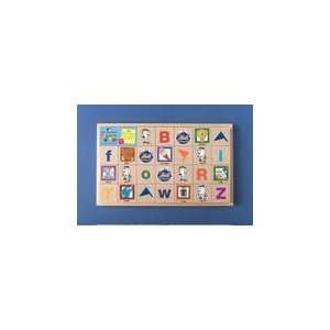 Color ALPHABET WOOD BLOCKS with Tray ( ABC BLOCKS )