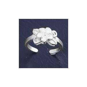 Sterling Silver Fashion Toe Ring   Plumeria with Center Embedded Clear