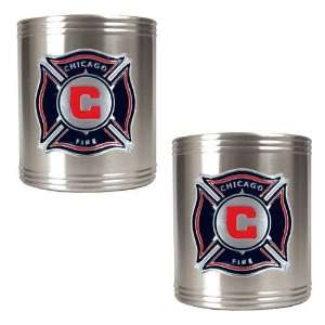 Chicago Fire MLS 2pc Stainless Steel Can Holder Set   Primary Team