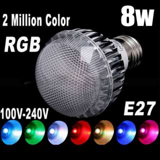 Color Changing RGB E27 Gu10 8W 9W LED Light Lamp Flash Bulb 110V 220V