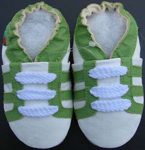 soft sole leather baby shoes sports green white 6 12m S
