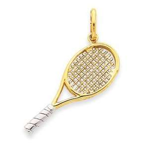 14k Two tone Gold Tennis Racquet Pendant Jewelry