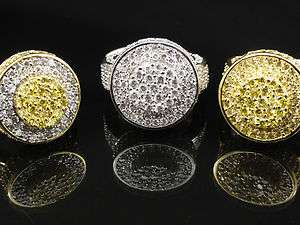 Mens New 14k Gold Finish Diamond Simulate Ring Band 3 Different Color
