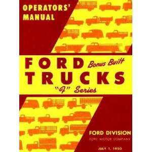 1950 FORD TRUCK Full Line Owners Manual User Guide