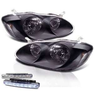 Eautolights 2003 2008 Toyota Corolla Black Head Lights + LED Bumper