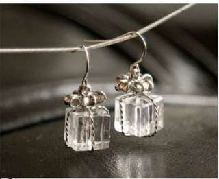 2012 New Fashiion Clean CUTE Chic Crystal Gift Box Dangle Earrings