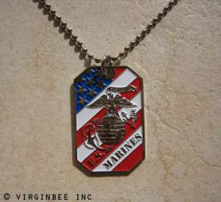 USMC MARINE CORPS EAGLE GLOBE ANCHOR EGA CREST USA FLAG DOG TAG