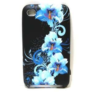 Black with Blue Flower Art Soft Silicone Skin Gel Cover Case for Apple