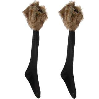 Elastic black Socks with brown Faux Fur Cover fit Boots