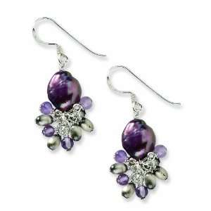 Silver Amethyst and Light Purple Cultured Freshwater Pearl Earrings